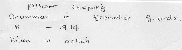 Albert Copping - drummer Grenadier Guards - killed in action 1914 AR3.jpg